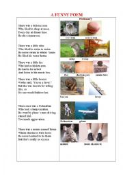 English Worksheet: A FUNNY POEM about Animals