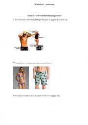 English Worksheet: swimming lessons
