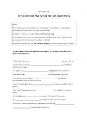 future perfect future perfect continuous exercises pdf