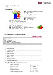 Diagnostic test Elementary English.