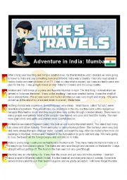 English worksheet: Travel Story - India
