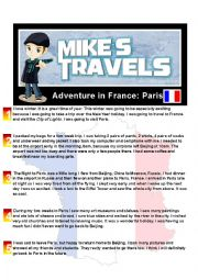 English worksheet: Travel Story - France