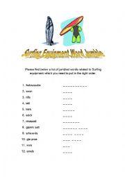English Worksheet: Surfing Equipment Word Jumble