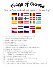 English Worksheet: The flags of Europe