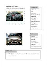 English Worksheet: Parts of the Car (exterior)