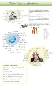 English Worksheet: MASS MEDIA - Newspapers / Magazines / Internet / Advertising