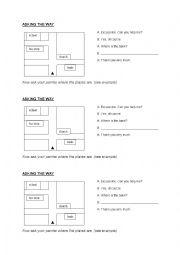 English Worksheet: asking the way - EASY