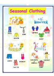 English worksheets: Seasonal Clothing