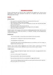 English Worksheet: Describing learners and and the rol of teacher in the claasroom