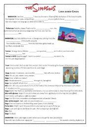 English Worksheet: when lisa goes gaga