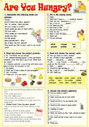 English Worksheet: Are you hungry?
