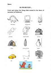 English Worksheet: In prehistory