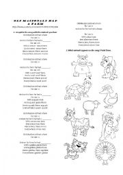 English Worksheet: Old Mac Donald had a farm- Animals