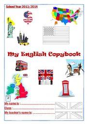 English Worksheet: Copybook cover 2014 England USA