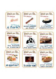 English Worksheet: Restaurant Go Fish 2/2