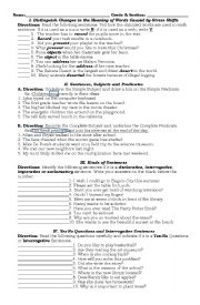 English Worksheet: Stress Shifts and Kinds of Sentences, Yes-No Questions,