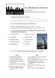 English Worksheet: Video activity about New York City
