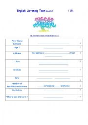 English Worksheet: Listening Comprehenson A1 Level