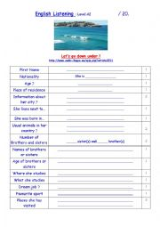 English Worksheet: Clare from Down under - Listening comprehension Level A2