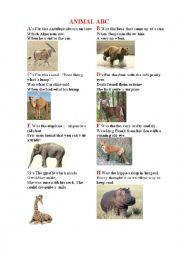English Worksheet: ANIMAL ABC (with short poems)
