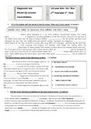 Diagnostic test  3rd year Arts / Sci / Eco ...