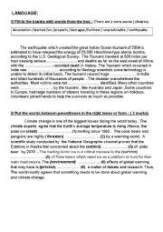 English Worksheet: Language Tasks for 3rd year students