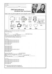 English Worksheet: SONG - Don�t wake me up (Chris Brown feat, David Guetta)
