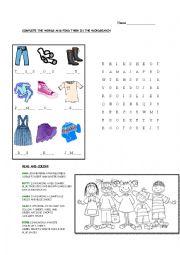 English Worksheet: Clothing Vocab/ Im Wearing