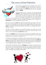 english worksheets reading comprehension the story of saint valentine. Black Bedroom Furniture Sets. Home Design Ideas