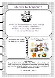 English Worksheet: It�s time for breakfast