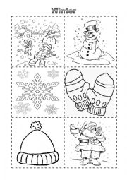 English worksheet: Winter Vocabulary Cut and Color