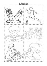 English worksheet: Actions Vocabulary Cut and Color