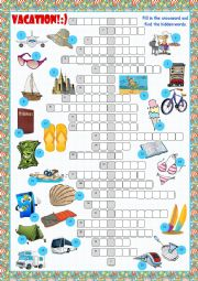 English Worksheet: Vacation Crossword Puzzle