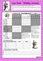 Logic game (55th) - Wedding ceremony *** with key *** fully editable *** BW