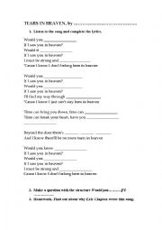 English Worksheet: Tears in Heaven, by Eric Clapton