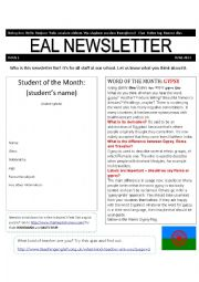 English Worksheet: ESL Newsletter