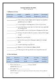 English Worksheet: ETS Essential Guide for the TOEFL Vocabulary Day 17-18