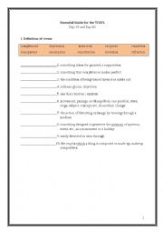 English Worksheet: ETS Essential Guide for the TOEFL Vocabulary Day 19-20