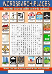 English worksheet: Places Wordsearch
