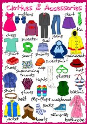 English Worksheet: Clothes and accessories - poster