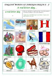 English Worksheet: ENGLISH WORDS OF FOREIGN ORIGIN E - F (ETRUSCAN, FRENCH) - a pictionary