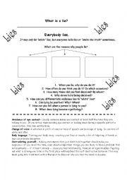 english worksheets why do we lie speaking activity. Black Bedroom Furniture Sets. Home Design Ideas
