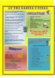 English Worksheet: AT THE GROCER�S STORE + key