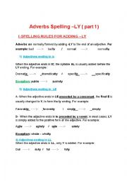 English Worksheet: ADVERB SPELLING RULES (PART 1)