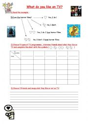 English Worksheet: Oral interaction activity : likes and dislikes / TV programmes