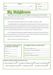 English Worksheet: Neighbours