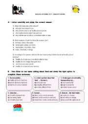 English Worksheet: listening test - healthy eating