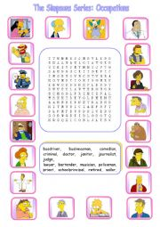 English Worksheet: The Simpsons Series: Occupations Wordsearch 1