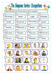 English Worksheet: The Simpsons Series: Occupations Match 1