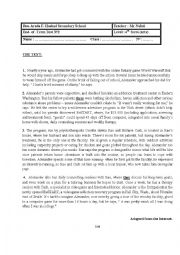 English Worksheet: Full term test 2 for the 4th form (arts)